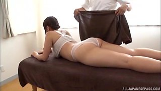 Chubby Japanese chick is happy to be covered in oil by a hunk