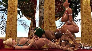 Futanari threesome with blonde and ebony big tits beauties