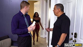 Ebony nympho Nyna Stax seduces handsome religious dude and bangs him in the bathroom