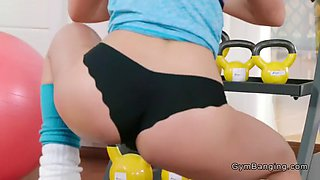 Lesbians with hot butts lick at the gym