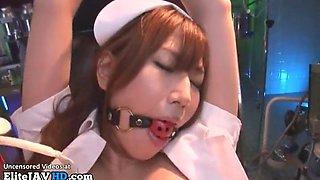 Japanese nurse with big tits has rough bondage sex