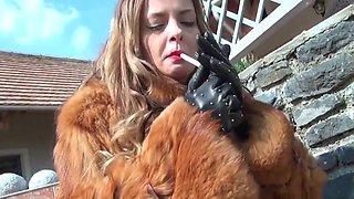 Fur boots smoking