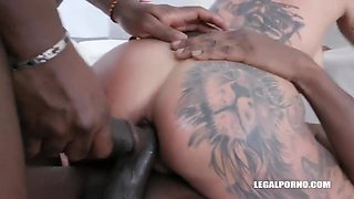 Inked Milf Enjoys African Double Anal