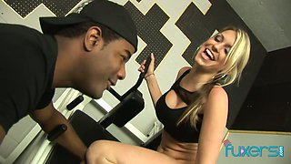 Sport blond chick Cindy Starfall hooks up with her black fitness instructor