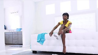 Banging beautiful nubian pussy in the kitchen