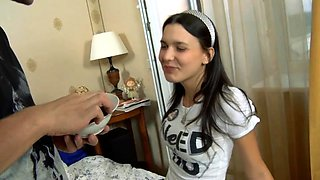Delightful Russian teen begs for a deep fucking on the bed