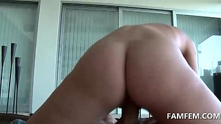 Two blondes fucking huge dick in POV 3some