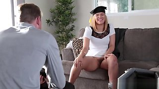 Sleeping dad blond comrade's daughter and caught watching xxx The Graduate