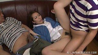Hot mature Asian housewife enjoys hot group action