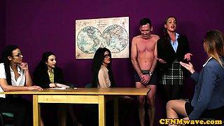 European CFNM babes wanking dick till cumshot