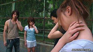 Cute Asian chick Minami Ayaka sucks a dick sitting on dudes face