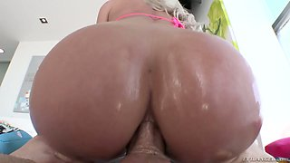 Blondie Riley Jenner gets her oiled up ass rammed hard on a pov camera