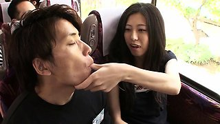 Japanese teenagers cocksucking in orgy on bus