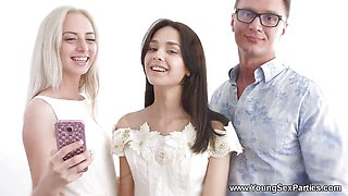 Young Sex Parties - Dress fitting and a threeway fucking