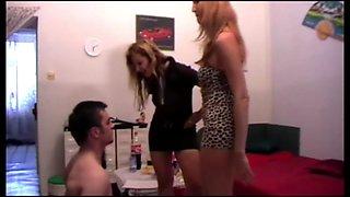 Femdom Girls slap and spit slaves