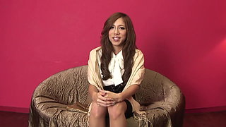 Gorgeous brunette Asian straddles a hard cock in the bedroom