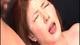 Slutty Japanese babes get their faces drenched in hot jizz