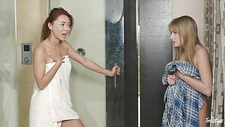 Sexy asian Ayumi Anime pounds the pussy of Scarlett Sage with a strapon