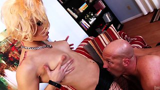 Blonde mistress in fishnets sucks and rides the cock of a gagged guy
