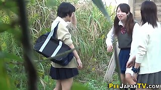 Japanese teen schoolgirls pissing in public