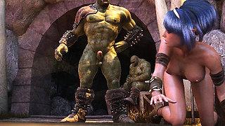 3D Elf Warrior Girl Gangbanged by Orcs!