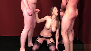Frisky babe gets cum load on her face gulping all the jizz