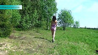 Real sexy pale brunette plays with her clit as she pisses outdoors