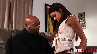 Hot ebony nanny Verta does some extra tasks for her boss