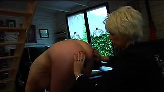 Blonde spanks her mistress in euro fucky party video