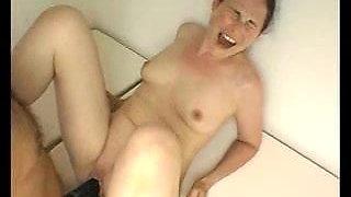 Wife takes huge strapon dildo