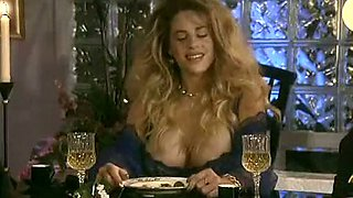 Hot and gorgeous busty blonde bimbo starting threesome at the dining table