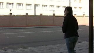 Shameless chick on the bus stop pisses in her jeans