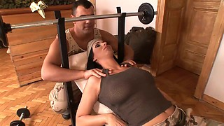 Brutal chick in military uniform provides fitness instructor with unforgettable sex fun