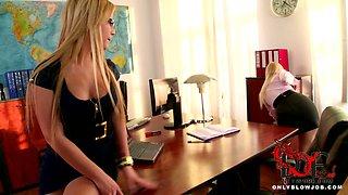 Two office beauties suck cock