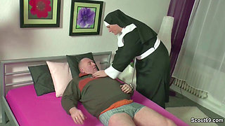 German MILF Nun Fuck With Stranger Old Man