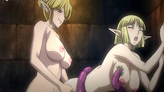 Blonde anime siren fucks cock and tentacles