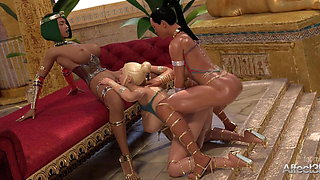 Lesbian futanari threesome adventure animation in Egypt