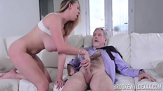 Busty Blonde Seduces Old Landlord