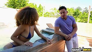 Ebony babe Cecilia Lion  gives a blowjob in the pool and gets fucked indoor