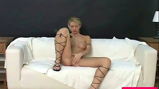 A slutty big tit amateur blonde fingers her pussy andd fucks herself with a cucumber
