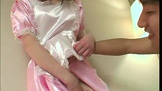 Satin maid sucks cock with a luscious mouth and gets laid