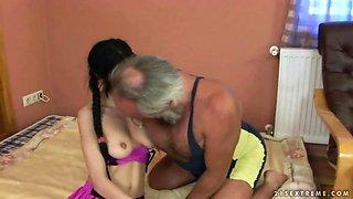 Teen enjoys hard sex with grandpa