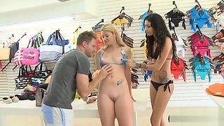 Lovely Blonde Convinced To Try Out Bikini And Pounded