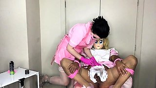 Blonde crossdresser getting his cock and balls shaved