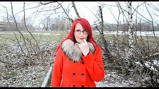 Sultry redhead with glasses blows a dick and gets facialized