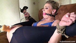 Super flexible bondage whore in high heels Ally deserves brutal masturbation