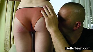 Slim virgin gets stripped and kissed all over