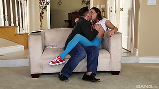 Brunette chick Ashley Adams knows how to use a long stiff shaft