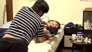 Teen Japanese nurse gives her patient a blowjob
