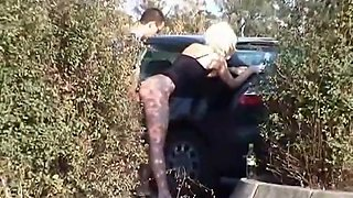 Secretive view of a girl fucked by a car